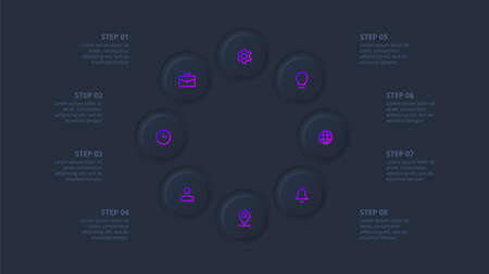 Dark neumorphic element for infographic. Template for diagram, graph, presentation and chart. Skeuomorph concept with 8 options, parts, steps or processes