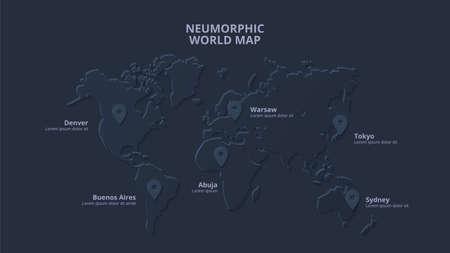 Dark neumorphic map with markers. Skeuomorph presentation slide. 版權商用圖片
