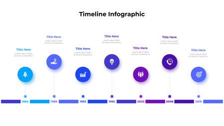 Infographic timeline design template. Modern vector illustration. Concept of 7 steps or options of business process