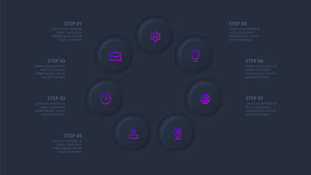 Dark neumorphic element for infographic. Template for diagram, graph, presentation and chart. Skeuomorph concept with 7 options, parts, steps or processes