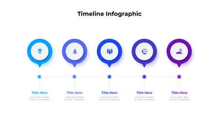 Infographic timeline design template. Modern vector illustration. Concept of 5 steps or options of business process