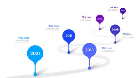 Infographic timeline design template. Modern road vector illustration. Concept of steps or options of business process