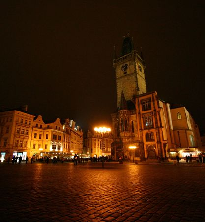 View of Pragues Old Town Square by night