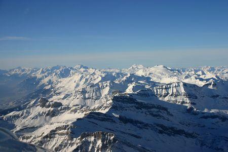 Alps landscape taken from a plane (Valais, Switzerland).