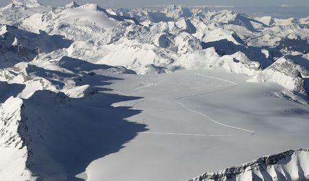 valais: Alps landscape taken from a plane (Valais, Switzerland).
