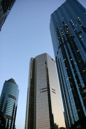 Financial neighborhood office building at dawn