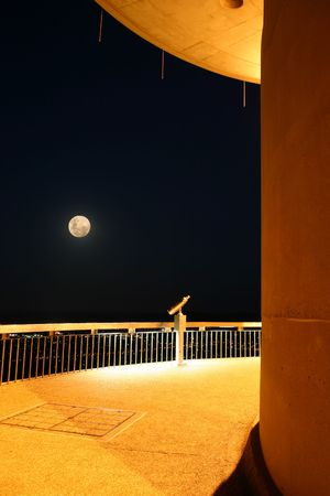 Night scene on the Telstra tower (Canberra, Australia) with binoculars and the moon.