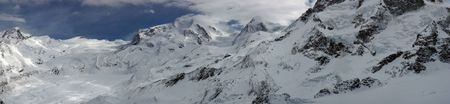 Swiss alpine panorama with a glacier