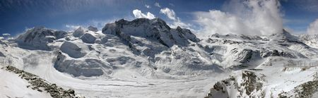 crevasse: Swiss alpine panorama with a glacier