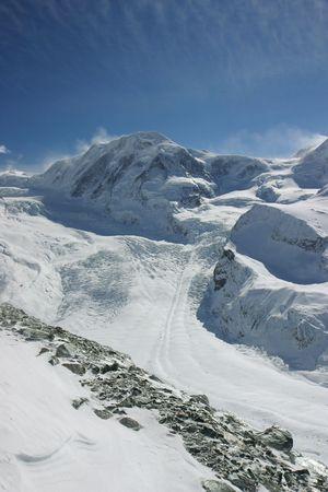 Alpine glacier scene (Wallis, Switzerland).