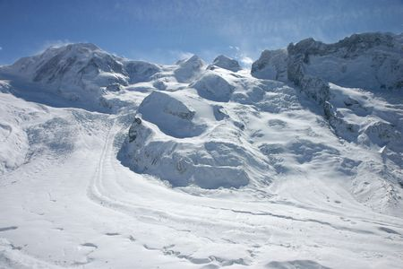 wallis: Alpine glacier scene (Wallis, Switzerland).