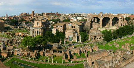 Panoramic view on a roman ruin site