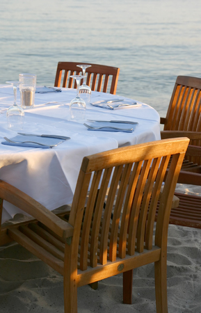 caf: View of an empty table of a beach restaurant