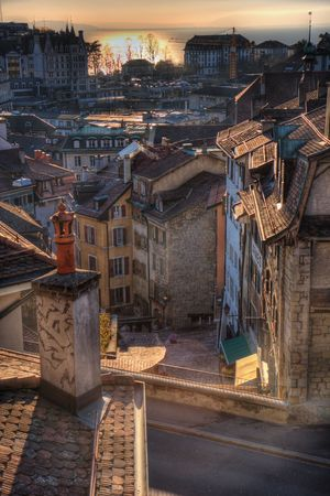 Roofs of Lausanne, Switzerland, in the sunset Stock Photo