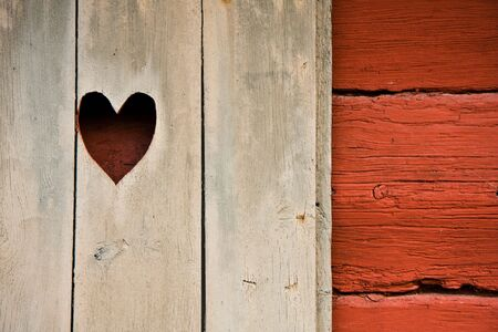 Heart symbol in a cottages shutter