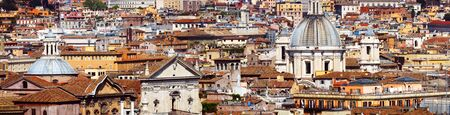 Panoramic view of the roofs of Rome, Italy Stock Photo