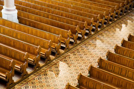 pews: Rows of benches in a church Editorial
