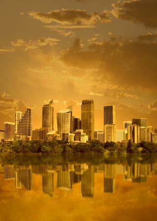 Cityscape in sunset with reflection in water (Sydney, Australia)