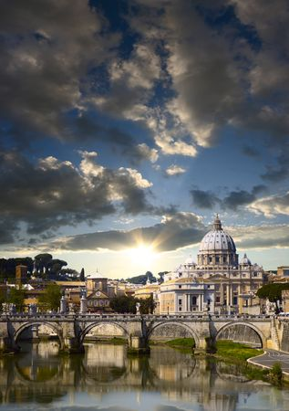 peters: View of the Vatican with Saint Peters Basilica and SantAngelos Bridge (Rome, Italy)