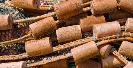 Pile of fishing nets arranged like a wave photo