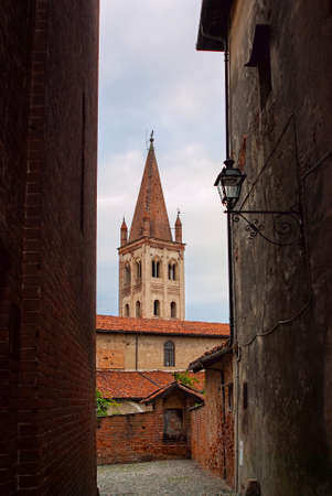 saluzzo: Old brick church in the ancient town of Saluzzo, northern Italy