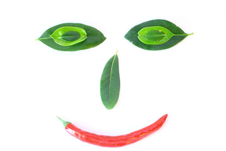 Leaf and Pepper Smiley Face