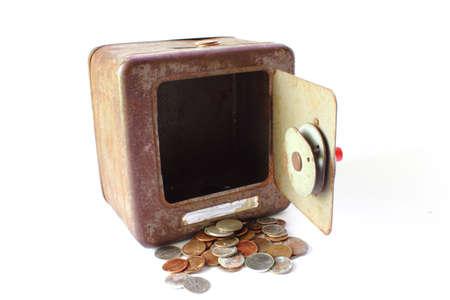 Open Metal Piggy Bank with Money Stock Photo - 14126806