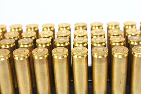 Isolated  306 Caliber Rifle Bullets Stock Photo