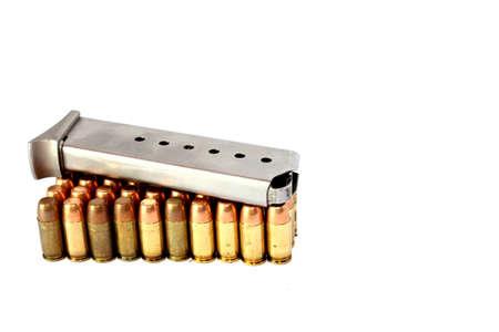 full metal jacket: Isolated full metal jacket 380 caliber handgun ammo with clip