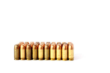 Isolated full metal jacket 380 caliber handgun ammo Stock Photo