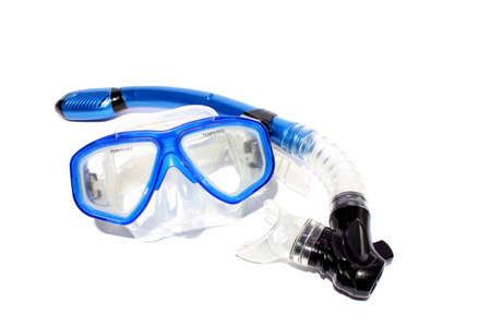 Isolated blue snorkel and mask used for snorkeling and scuba
