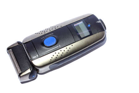 Isolated closeup of a mens black electric shaver Stock Photo - 14414089