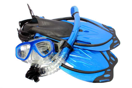 Isolated black and blue fins, snorkel, and mask used for snorkeling and diving