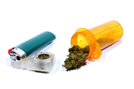 Medical Marijuana with Pipe and Lighter