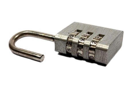 Isolated stainless steel combination padlock in the open position  photo