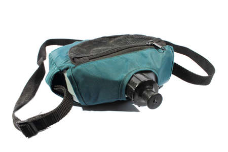 Isolated green and black canteen used for hiking and camping