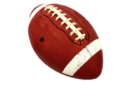 Isolated brown football with white stripes for playing catch  Stock Photo