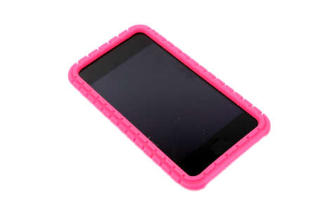 Isolated smartphone or music player with a pink rubber cover  Stock Photo