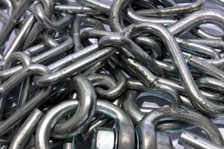 closeup of a pile of stainless steel chains Stock Photo - 15314134