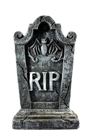 graveyard: Isolated RIP gravestone used as decoration for halloween Stock Photo