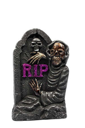 Isolated Halloween gravestone with purple RIP letters on it