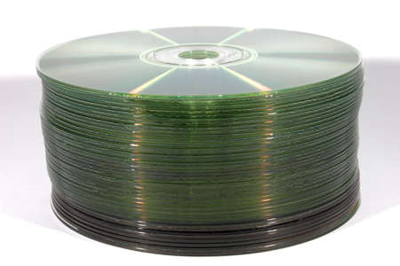 Isolated stack of compact discs or CDs  photo