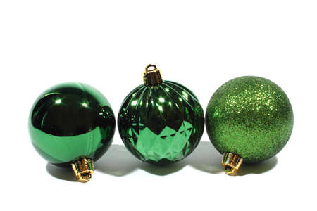 Isolated green xmas balls used for christmas decoration  photo