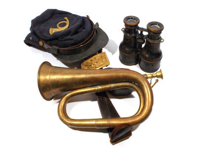 Isolated civil war union hat, bugle, belt, and binoculars   Stock Photo