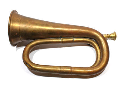 reveille: Isolated antique bugle used by the military for reveille  Stock Photo