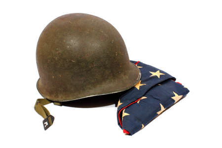 Isolated World War 2 army helmet with the American flag