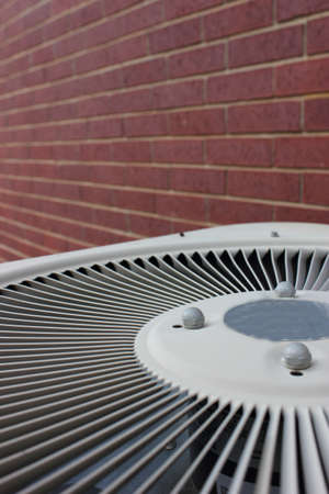 Close up of an outside air conditioning unit Stock Photo
