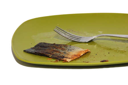 leftover: Isolated view of a salmon eaten from a green plate