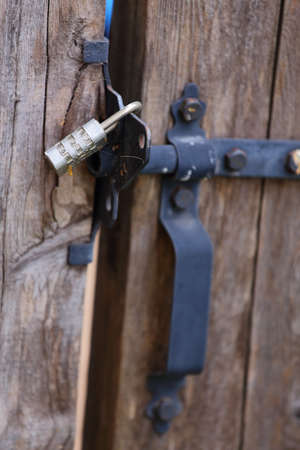Close up view of a locked gate handle Stock Photo - 18319081