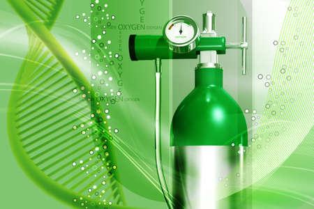 ox�geno: Ilustraci�n digital de un cilindro de ox�geno en el fondo blanco